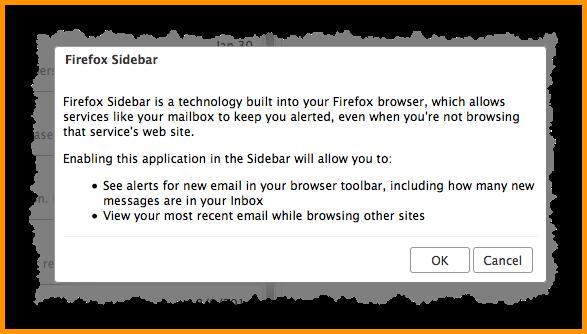 2. Klikkaa ok Firefox Sidebar -ikkunasta