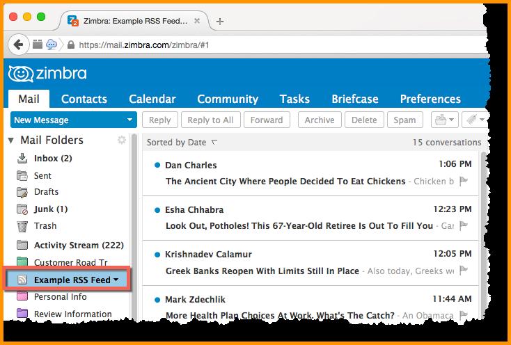 RSS-syöte näkyy nyt kansiossa kuten sähköpostiviestit.